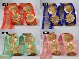 2 Yard Gold Sequined Indian Trims Embroidered Saree Border Sequins Embroidery Decor Trimming Embellishment Costume Bags Hats Belt Pets Bads Dresses Bags Laces cushion Ribbon