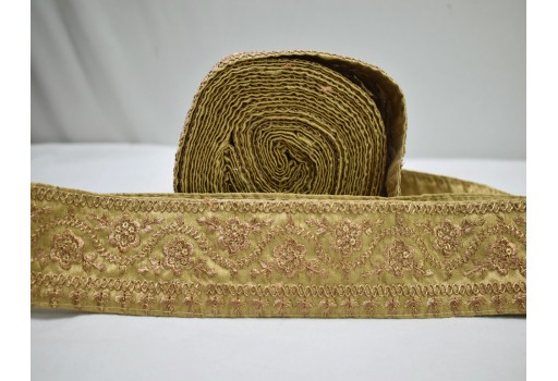 9 Yard Wholesale Border Embroidered Gold Zari Sequins work Indian decorative Trims Embellishment Crafting Sewing Cushion Border Saree Trimming Lehnga Ribbon garment clothing costume