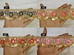 2 Yard Embroidery Gold Sequins Saree Trim Embroidered Trimming Indian Wedding Crafting Sewing Border Festive Wear Home Decor Drapes Christmas Decor Tape Curtains Ribbon