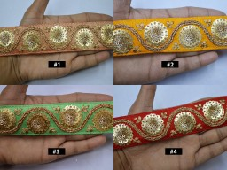 2 yard Gold Sequined Indian Trim Embroidered Saree Border Sequins Embroidery Lehnga Dresses Trimmings Wedding Dupatta Ribbon Sewing Accessories Costume Headbands Laces