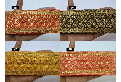 9 Yard Wholesale Embroidered Indian Trims Gold Sequined Saree Fabric Ribbon Embellishment decorative costume Border Crafting Sewing Trimmings Christmas décor Border