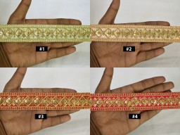 2 Yard Gold Sequined Embroidered Saree Border Scrapbooking embellishments Indian Laces Decorative Embroidery Trim Sari Border Costume crafting ribbon Boutique Material