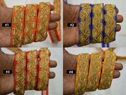 2 Yard Decorative Embroidered Gold Zari Thread Trimmings Embellishments Scrapbooking Laces Dolls Hat Curtains Crafting Indian Trims Belt Sari Border Sewing Accessories