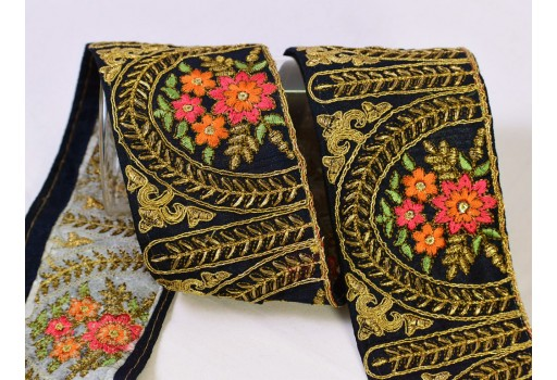 Decorative embroidery fabric trim by the yard décor curtains tape embellishments dresses crafting sewing wedding costume saree Indian sari border embroidered ribbon