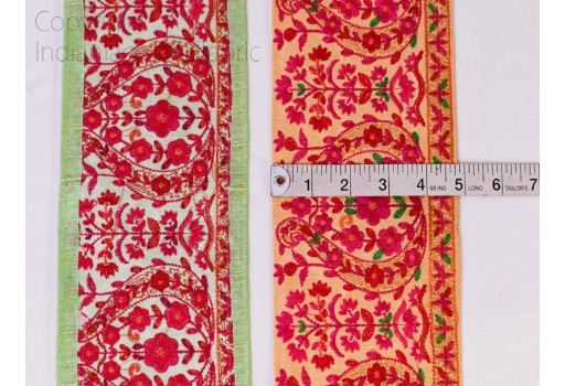 Embroidered wedding sari border crafting ribbon embellishment thread embroidery dresses lace by the yard costume crafts decorative dupattas trim sewing accessories costume trimming