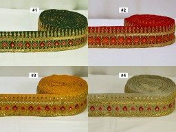 2 yard decorative border embellishment Curtains Ribbon Dresses Sewing fabric sequins sewing crafting accessories lace Embroidery home decor design kids wear fancy costume ribbon