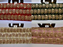 2 Yard Embroidery Sequins Lamp Shade Lace Embroidery Sari Border home decor wholesale decorative border embellishment sewing crafting accessories lace design kids wear fancy costume ribbon