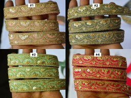 2 Yard Embellishments indian festive wears laces decorative embroidered designer trim beautiful christmas supplies trimmings designer crafting costume tape wedding lehenga border stylish embroidery  ribbon