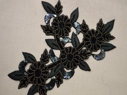1 Piece Indian Patch Sewing Accessories Dress Applique Black Appliques Bullion Applique