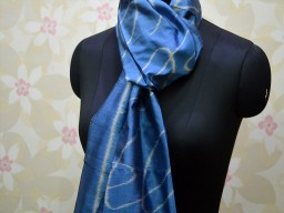 Holiday gift Large Ikat Scarf Blue Silk Scarf Wrap Gifts for Her Women Stoles