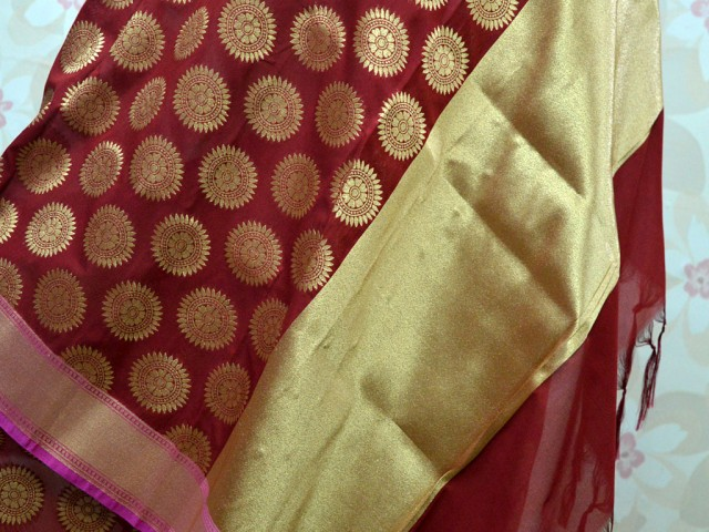 Women long stoles maroon and gold christmas birthday gifts wedding ethnic wear wrap bridesmaid boho indian designer brocade silk dupatta evening scarf gifting purpose for festive seasons and all occasions