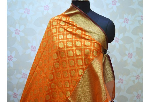 Banarasi Wedding Dupatta Indian Brocade Silk Scarf Women Stole