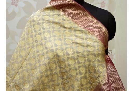 Beige gold banarasi dupatta women stoles brocade long scarfs wedding wear wraps christmas gifts scarves boho bridesmaid scarf indan latest designer stylish dupatta scarves are casual