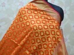 Orange gold color women designer fancy stole banarasi dupatta long wedding silk indian brocade scarf christmas birthday ethnic party wear bohemian stunning evening wedding for shawls wraps