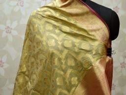 Beige banarasi wedding dupatta women fashion accessories bridesmaid christmas birthday gifts indian brocade ethnic wear ladies stoles decorative look for designer dupatta