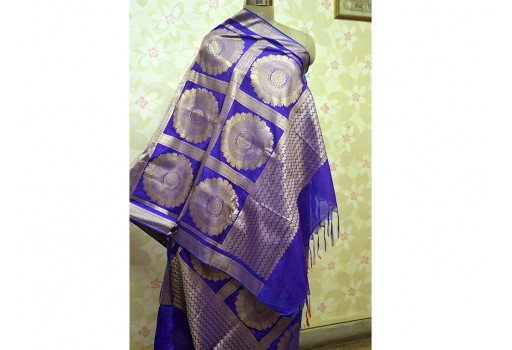 Blue Scarves Wraps Gifts for Her Indian Banarasi Brocade Dupatta Silk Scarf Women Stole