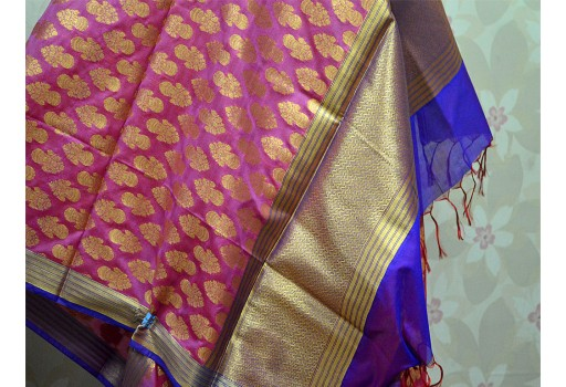 Indian Brocade Dupatta Silk Scarf Women Stole Evening Scarves and Wraps