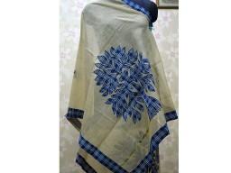 Scarf For Gift Indian Wedding Off White Indigo Blue Patch Work Boho Scarf Dupatta Women stole Cotton Dupatta G..