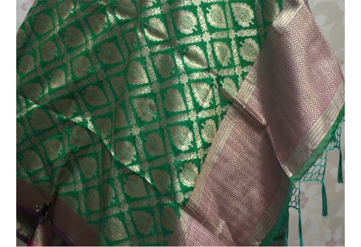 Green Christmas Gifts Brocade Dupatta Long Silk Scarf Gifts for Her Women Stoles Ethnic Wedding Wrap Indian scarf