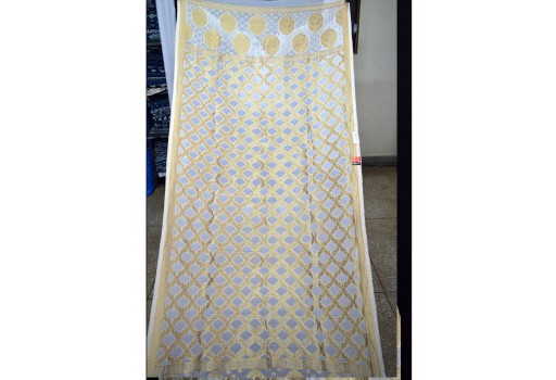 Dyeable Women Georgette Dupatta white and gold color Stoles Indian Brocade Scarf bohemain Evening Scarves Gifts For Her Bridesmaid Christmas birthday wraps for all occasions