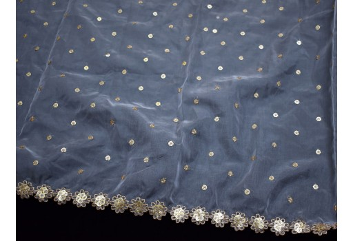 Dyeable Indian white organza gold embroidered fabric sequins design dupatta wholesale crafting sewing saree costume accessories bridesmaid wedding wear dress doll making christmas gift