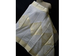 Indian Wedding Dyeable Dupatta Ivory Gold Chanderi Cotton Boho Women Evening Scarves Gifts For Bridesmaid Stoles Christmas Fashion Accessory