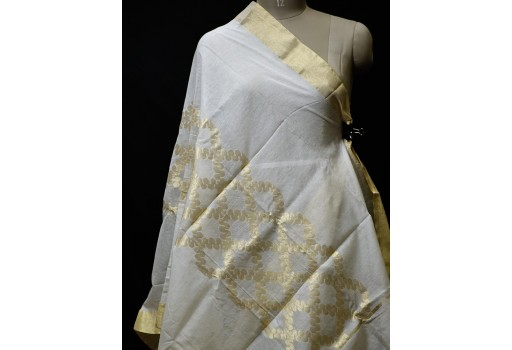 Indian Wedding Evening Scarves Dupatta Ivory Gold Chanderi Cotton Boho Women Stoles Gifts for Her Bridesmaid Christmas Fashion Accessory
