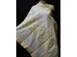 Ivory gold chanderi indian cotton dupatta elegant evening scarves boho women stole bridesmaid stoles christmas fashion accessory gifts for her