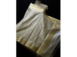 White Dyeable Women Brocade  chanderi Silk Stole Indian Scarf Dupatta Evening Scarves Gifts for Her Bridesmaid Wedding Christmas Birthday