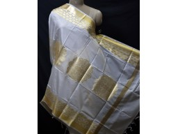 White Dyeable Women Brocade Silk Indian Scarf Dupatta Evening Scarves Gifts for Her Stole Bridesmaid Wedding Christmas Birthday Gifts