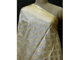 White Dyeable Brocade Silk Indian Scarf Dupatta Women Evening Scarves Gifts for Her Stole Bridesmaid Wedding Christmas Birthday Gifts