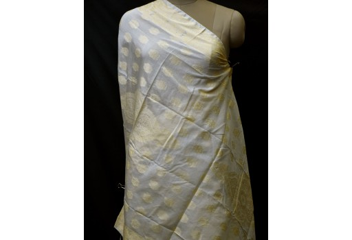 Dyeable Indian Wedding Dupatta Ivory Gold Chanderi Cotton Bridesmaid Evening Scarves Boho Women Stole Gifts For Christmas Fashion Accessory