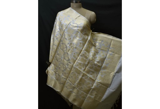 White Dyeable Indian Scarf Dupatta Evening Scarves Gift for Her Women Brocade Silk Evening Stole Bridesmaid Wedding Christmas Birthday Gifts