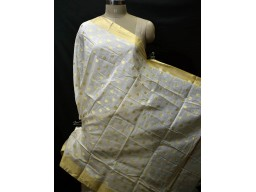 Dyeable Ivory Gold Chanderi Cotton Indian Dupatta Boho Women Stole Evening Scarves Gifts for Bridesmaid Stoles Christmas Fashion Accessory
