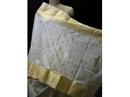 Indian Fashion Accessory Elegant Dyeable Scarves Dupatta Ivory Gold Chanderi Cotton Boho Women Stole Gifts for Bridesmaid Stoles Christmas