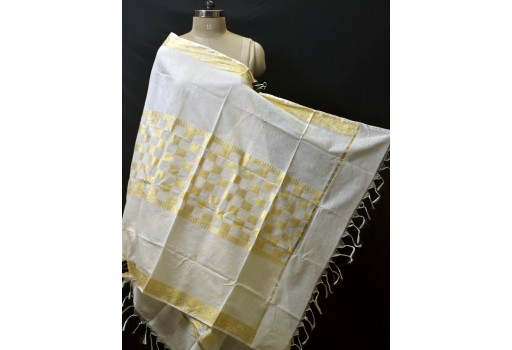 Indian Dyeable Bridesmaid Evening Scarves Dupatta Ivory Gold Chanderi Cotton Boho Women Stole Gifts for Christmas Fashion Accessory Stoles