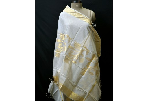 Bridesmaid Dyeable Dupatta Evening Scarves Indian Wedding Ivory Gold Chanderi Cotton Boho Women Gifts for Christmas Fashion Accessory Stoles