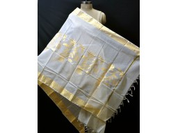 Indian elegant ivory gold bridesmaid dupatta evening scarves chanderi cotton boho women stole gifts for birthday christmas wedding party fashion accessory stoles