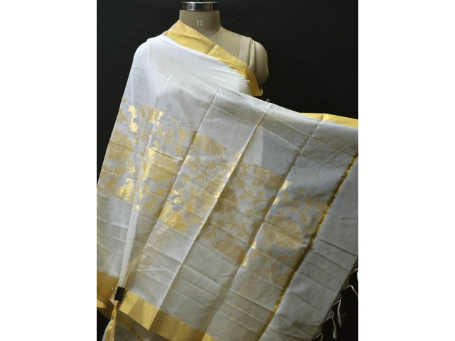 Indian Ivory Gold Chanderi Cotton Dyeable Dupatta Bridesmaid Evening Wedding Scarves Boho Women Gifts for Christmas Fashion Accessory Stoles