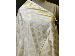 White Dyeable Indian Wedding Scarf Dupatta Evening Scarves Gift for Her Women Brocade Silk Evening Stole Bridesmaid Christmas Birthday Gift