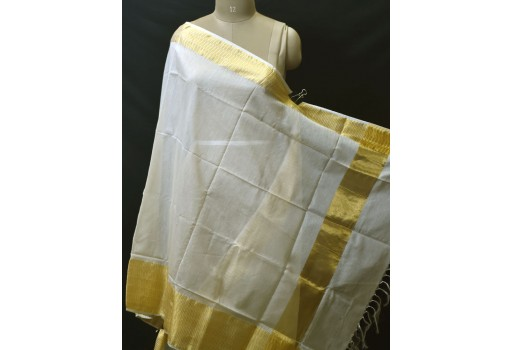 Indian Dyeable Ivory Gold Chanderi Cotton Dupatta Boho Women Stole Evening Scarves Gifts for Bridesmaid Stoles Christmas Fashion Accessory