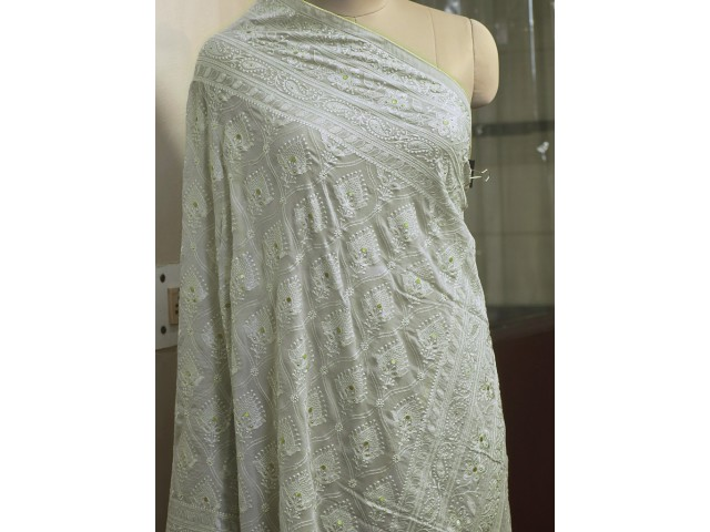 Grey Georgette Embroidered Indian Dupatta Embroidery Veil Punjabi Stoles Wraps Bridesmaid Long Scarves Christmas Gifts Fashion Accessory