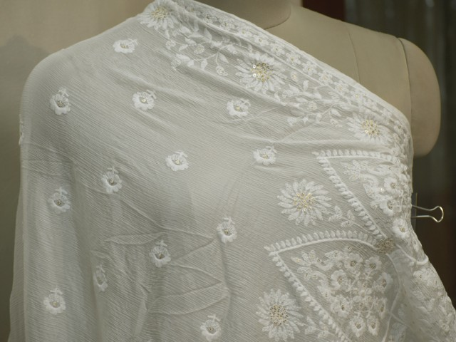 Dyeable White Indian Embroidered Dupatta Lehenga Chikankari Embroidery Wedding Veil Chikan  Punjabi Dupatta Stoles Wraps Head Scarves Gift