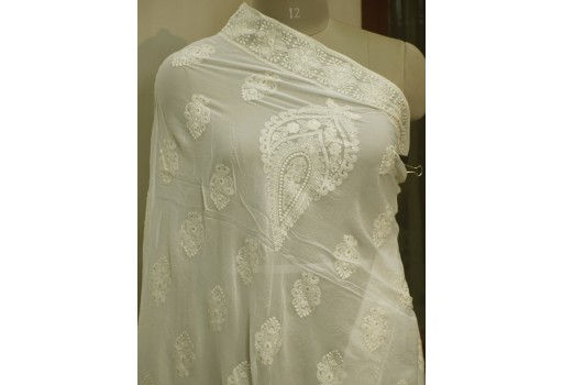 Dyeable Chikankari Off White Indian Embroidered Punjabi Dupatta Lehenga Embroidery Wedding Chikan Women Scarf Stole Wraps Head Scarves Gift