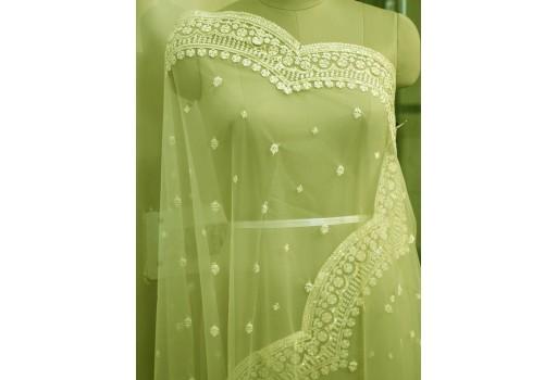Indian Wedding Dupatta Embroidered Green Net Long Dupatta Chuni Bridal Veil Sequins Lehenga Embroidery Stoles Festival Punjabi Dress Chunni