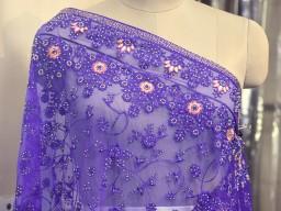 Indian Wedding Dupatta Embroidered Blue Net Long Dupatta Chuni Bridal Veil Lehenga Embroidery Stoles Punjabi D..