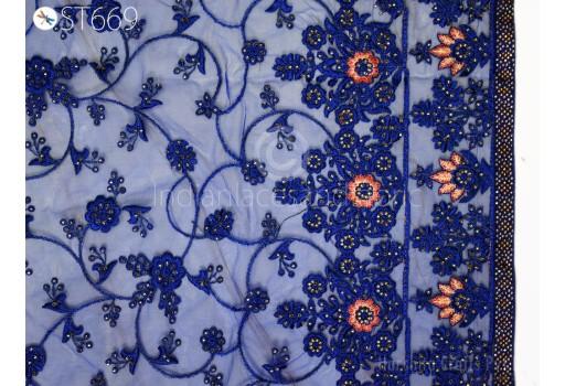 Indian Wedding Dupatta Embroidered Blue Net Long Dupatta Chuni Bridal Veil Lehenga Embroidery Stoles Punjabi Dress Chunni Head Scarf Women