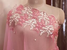 Indian Pink Wedding Dupatta Embroidered Net Long Dupatta Chuni Bridal Veil Lehenga Embroidery Stoles Punjabi D..
