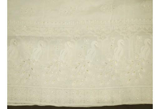 Dyeable White Indian Embroidered Punjabi Dupatta Lehenga Chikankari Embroidery Wedding Veil Chikan Women Scarf Stole Wraps Head Scarves Gift