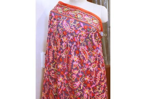 Indian Embroidered Wedding Dupatta Georgette Long Dupatta Chuni Bridal Veil Lehenga Embroidery Stoles Scarfs Punjabi Dress Chunni Women Gift